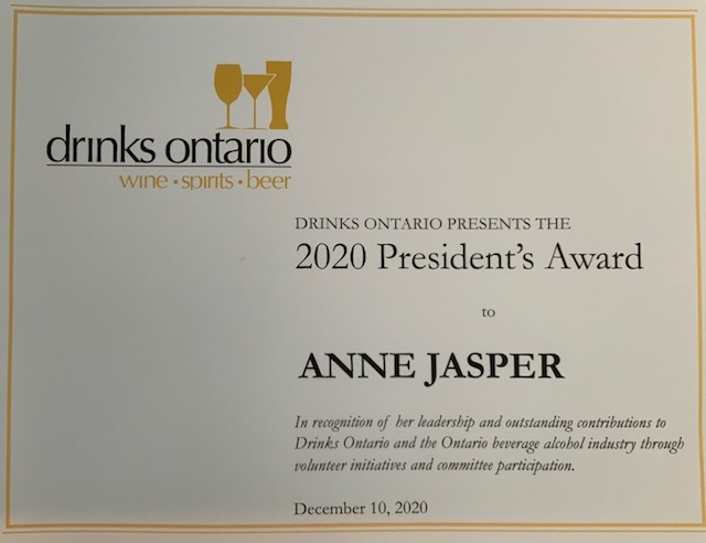 Drinks Ontario 2020 President's Award